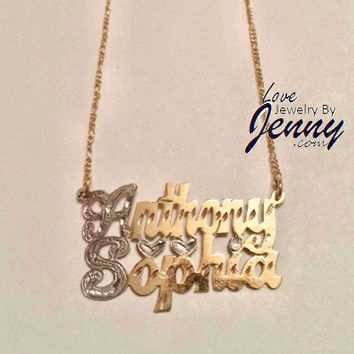 14K Gold Overlay 2 NAMES PLATE necklace chain