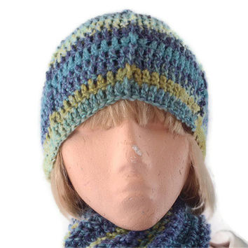 Chunky Beanie Hat Crocheted in Blue,Green & Purple to my Original Design. Fashion Accessories, Winter Warmers, Gift,,