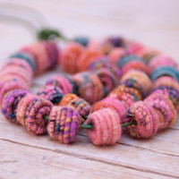 Handmade Copper-Fiber Bead for Artisan Jewelry Designs