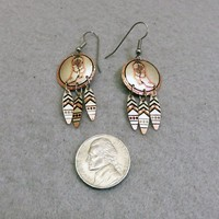 Copper and Silver Southwestern Earrings, Vintage Dangles