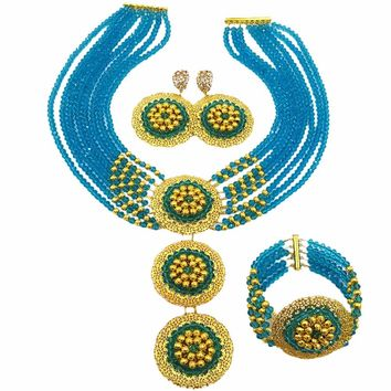 Lake Blue African Necklace Set Jewelry for Women Nigerian Traditional Wedding Jewelry - Free Shipping