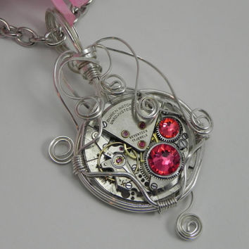 Steampunk Necklace with Recycled Antique Watch and Indian Pink Swarovski Crystals Silver Wire Wrapped Design