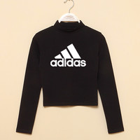 Adidas: half collar midriffs long sleeved T-shirt