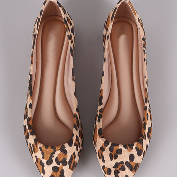 Breckelle Leopard Vegan Suede Pointy Toe Flats