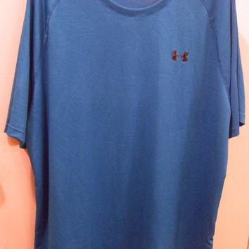 Under Armour Mens Heat Gear Shirt Turquoise 2 XL loose coupe lache suelto gym