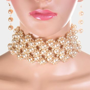"""14"""" gold faux pearl layered choker necklace 2"""" wide 2.50"""" earrings bridal prom"""