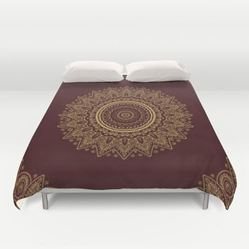 Duvet Cover - 3 different sizes, Without Insert, Bedroom, Home decor, Mandala, Boho, Hippie, With or Without Shams, Red, Yellow