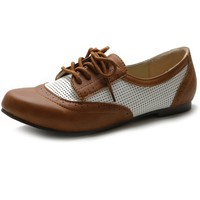 Ollio Women's Flat Shoe Classic Breathable Lace Up Oxford