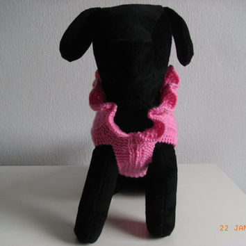 "dog sweater / dress hand knit xs 11"" teacup chihuahua etc.xs dog sweater, small dog coat, xs dog clothing"
