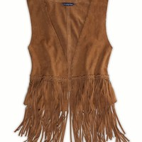 AEO Women's Fringed Suede Vest (Brown)