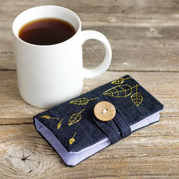Jeans Blue Denim Tea Wallet with Hand Embroidered Leaves with Gold Metallic Effect, Nature Inspired Tea Holder, Gift for Tea Lover