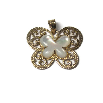Estate 10K Mother of Pearl Butterfly Pendant Michael Anthony