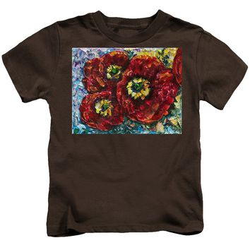 Diptych 1 Piece Painting Of Poppies Palette Knife Oil - Kids T-Shirt
