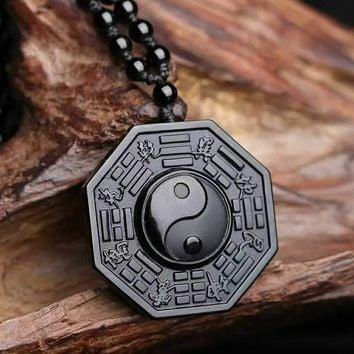 100% Natural Black Obsidian Carved Chinese Faced BaGua Lucky Amulet Pendant + Free Necklace Fashion Crystal Fashion Jewelry