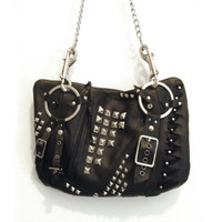 Leather Studded Black Punk Rock Purse