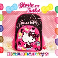 Hello Kitty School Backpack for Kids Pink & Back (15 Inch) Sanrio