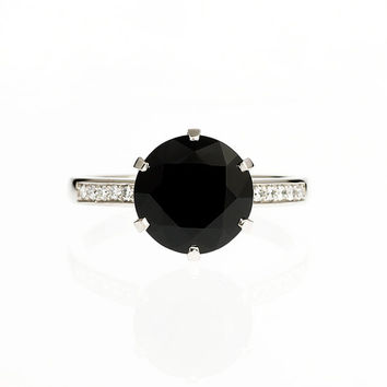 10.mm Black Spinel ring, engagement ring, spinel, black engagement, solitaire, diamond ring, diamond engagement, thin, wedding ring