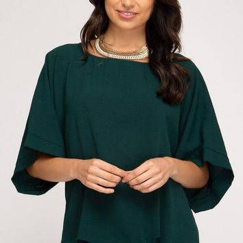 Kimono Sleeve Woven Top With Side Tie Detail in Hunter Green