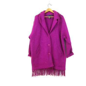 vintage 1990s Boiled Wool IB Diffusion Coat Long Cocoon Button Down Jacket with Fringe PURPLE Ski blanket sweater coat Women's Size Large