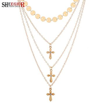 SHEEGIOR NEW Ethnic Cross Necklace Women Fashion Jewelry Love Sexy Gold Silver Wafer Multilayer Chains Clavicle Choker Necklaces