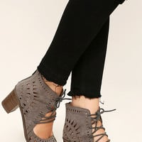 Cut to the Chase Grey Suede Cutout Lace-Up Booties
