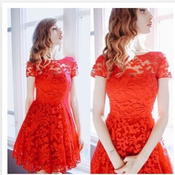 Summer Sexy Red Ball Gown See Through Lace Hot Sale Women's Fashion Dress [4914973188]