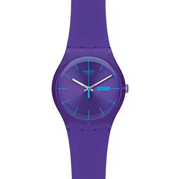 Swatch SUOV702 Unisex Purple Rebel Violet Dial Violet Silicon Rubber Strap Watch
