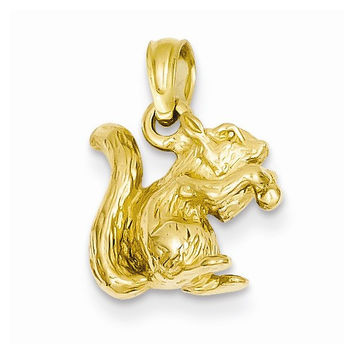 14k Yellow Gold Solid 3-D Squirrel Nut Charm