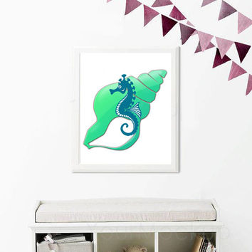 Seahorse Print - Sea horse Print - Beachy Poster - Bathroom Decor - Nursery Print - Bathroom Print - Printable Poster - Nautical Decor
