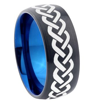 8mm Laser Celtic Knot Dome Tungsten Carbide Blue Wedding Band Mens