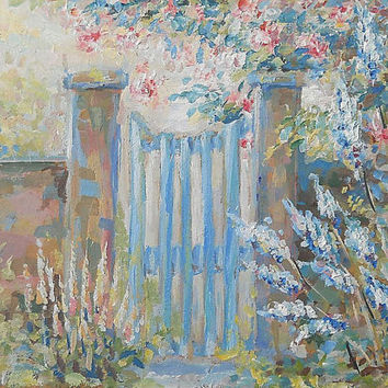 "Decor, Still Life, ""Blue Gate"", Original Oil Painting, Impasto, Canvas, Hardboard, Art Painting, Made to Order, Modern painting, Home Decor"