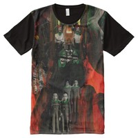 Eternal Flame Fire Twins Surrealist Collage Art All-Over Print T-shirt