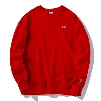 ONETOW Champion Embroidery round collar sweater sweater Red