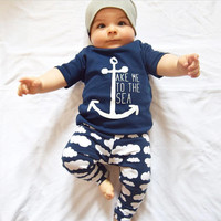 2Pcs/Set  Baby Clothing Sets 2017 Summer Baby Boys Sailor anchor Clothes Infant Baby Tops T-shirt+clouds Pants  2pcs Outfits Set