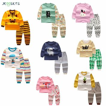 winter newborn baby boy clothes Kids Pajamas sets Children cotton baby girl clothing Cartoon baby clothing Sets Suit