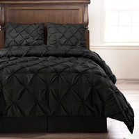 Pinch Pleat Comforter Set - 4-Piece - by ExceptionalSheets, Full, Black