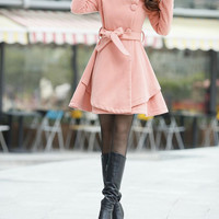 Pink woolen coat woolen jacket long sleeve woolen dress autumn winter coat woolen blouse windcoat parkas trench coat plus size dress
