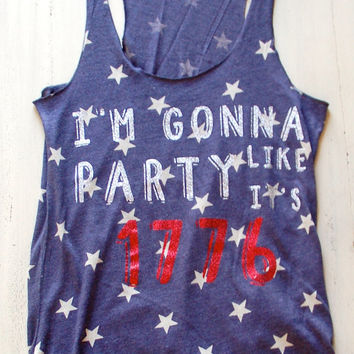 4th of July Shirt Glitter Tank Party Like Its 1776 Tank Tee T Shirt Red White and Blue USA Fourth of July America American Flag Merica