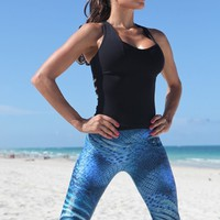 Equilibrium Leggings - Ocean Print Cire | Blue Yoga Leggings