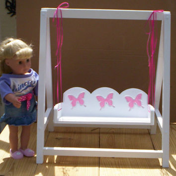 Perfect Doll Swing Doll Furniture Handcrafted For American Girl 18 Inch Doll White  With Pink Butterflies