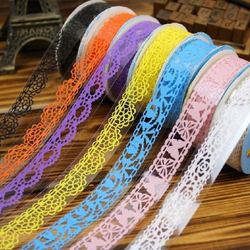 7 Colors DIY Lace Decorative Tape Plastic Sweet Washi Tape for photo album Scrapbooking Masking Tape Free shipping 907