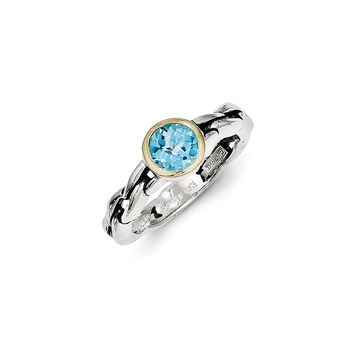 Antique Style Sterling Silver with 14k Gold 1.35 Sky Blue Topaz Ring