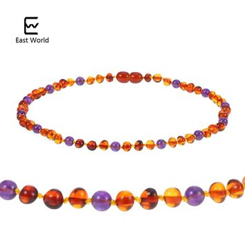 EAST WORLD Amber Teething Necklace Knotted Mix Round Natural Gemstone Beads Polished Natural Baltic Amber Jewelry for Baby Women