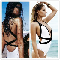 Women Sexy Deep V-Neck Cross Halter Strappy Bikini Backless Onepiece Triangle Swimsuit = 5617096961