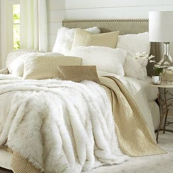 Faux Fur Arctic Fox Blanket & Sham