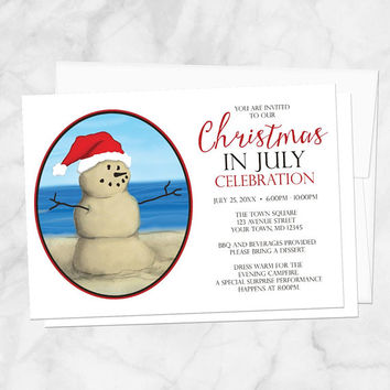 Christmas in July Party Invitations - Modern Illustrated Sand Snowman on the Beach with Santa Hat - Printed Christmas In July Invitations