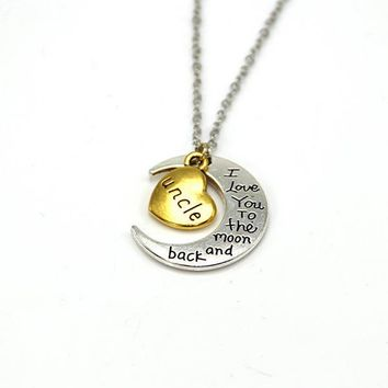 hand stamped i love you to the moon and back charm necklace silver gold uncle gift box  number 1