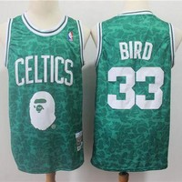 Bape x 33 Larry Bird Mitchell & Ness Red Hardwood Classics Jerseys