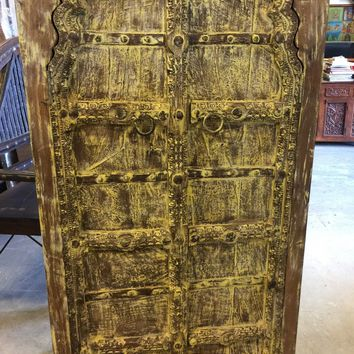 Antique Armoire Cabinet Ochre Teak Doors India Furniture Rustic FARMHOUSE Decor