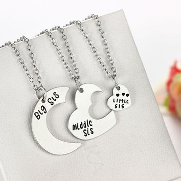 Big Middle Litter Sis Pendant Necklace Best Friend Gifts Family Sister Jewelry silver Necklaces Women Charm Chain Love